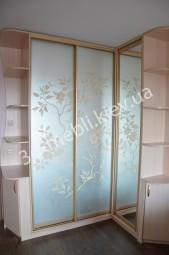 "Фото двери шкафа, - зеркало ""сатин + крашеный рисунок"