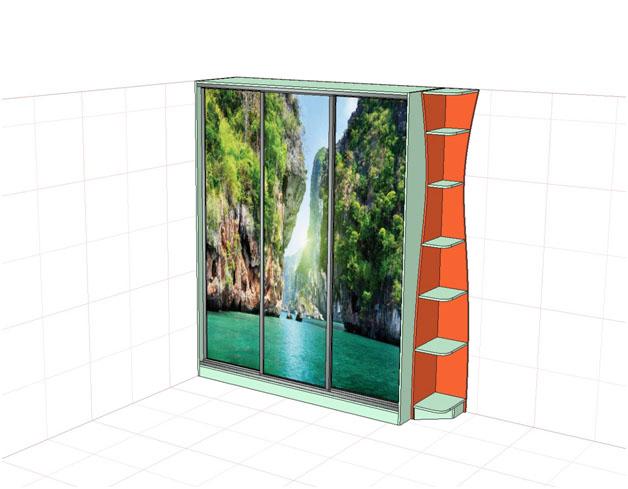 3d-макет шкафа с фотопечатью