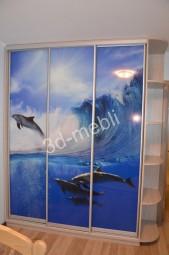 Морской рисунок с дельфинами – для шкафа в детской.