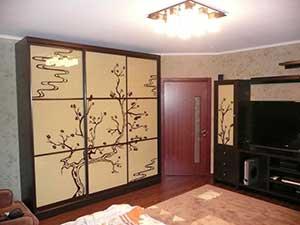 Двери шкафа выполнены методом 2-цветной покраски под стеклом.